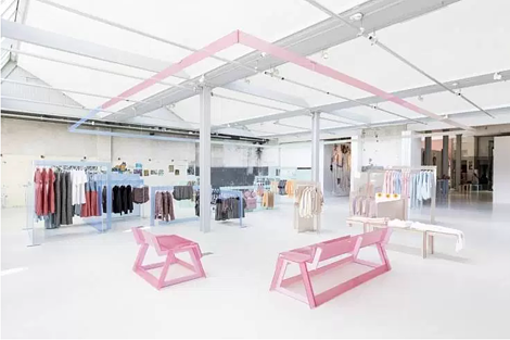 esprit AMS popup distinctive late 1980s pallette of brand pastel fixtures ambient glow offsets summer feel of colection
